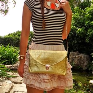 Gold Small Alligator Print Crossbody Bag Handbag